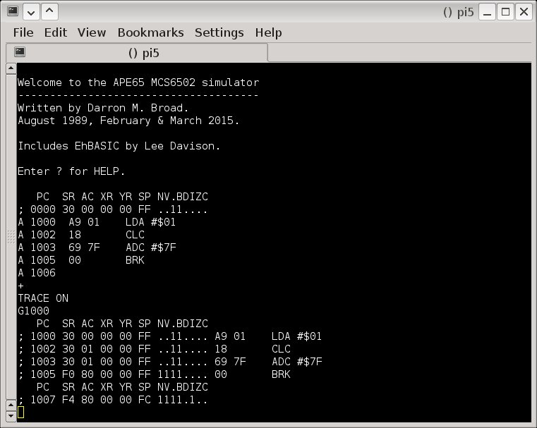 6502 Simulator Chipkit Development Platform